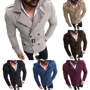 2020 Nova revestimento do revestimento dos homens de Moda Slim Fit manga comprida Suit Top Coat Blusão Trench Homens Outono-Inverno Quente Botão