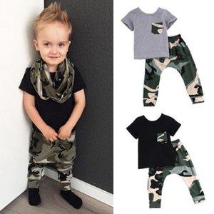 2pcs lot Kids children boy outfit set letter KING short sleeve top camouflage pants boys clothes suit