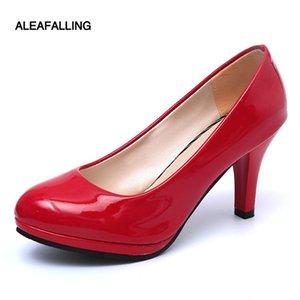 Aleafalling Lady Escarpins ronde Femmes Toe Pumps 9cm talon colorés Femmes Chaussures Flock Bureau Chaussures pour dames doux HeelsPM02