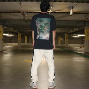 19SS Flower Fotos tee camiseta del verano Nueva clásico de manga corta casuales Streetwear Hip Hop Hombres Mujeres estilista camiseta del tamaño S-XL