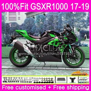 Kit de injeção para SUZUKI GSX R1000 GSXR 1000 GSX-R1000 17 18 19 15HM.107 GSXR-1000 K17 L7 L8 GSXR1000 2017 2018 2019 Carenagem Verde Agradável preto