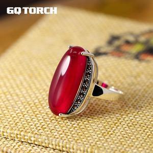 Gqtorch 925 Sterling Silver Exagerado Ágata Verde Vermelho rubi Anéis grandes For Fine Anel Mulheres Vintage Jóias J190706
