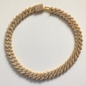 19mm voll Iced Out Schwere Cuban Ketten-Halskette Prong Halskette Einstellung