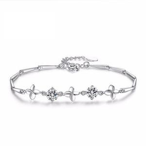 Kadınlar Gümüş Bilezik Dört Yapraklı Yonca Kristal Taş Bilezik El Yapımı Doğum Günü Hediyesi Basit Kişilik Mizaç Ametist 24