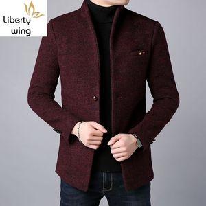 İş Casual Erkek Coat Sonbahar Kış Yeni Kalın Sıcak Yün Palto Erkek Tek Breasted Slim Fit Dış Giyim Plus Size