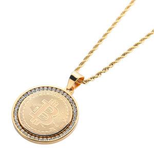 Hip Hop Coin Collar Colgante Para Hombres 2019 Nueva Marca de Moda Joyería Hielo Fuera CZ Letra B Collar de Acero Inoxidable