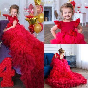 2020 Blumen-Mädchen-Geburtstags-Kleider Tulle Tiered Röcke Jewel Ausschnitt Kappen-Hülse Handgemachte Mädchen-Festzug-Kleid Backless Kleine Mädchen-formales Kleid