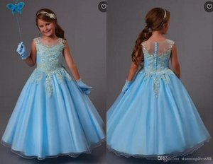 2020 Güzel Açık Mavi Çiçek Kız Elbise İçin Düğün Sliver Aplike Prenses Tül Uzun Hollow Geri ucuz ilk komünyonu Elbise
