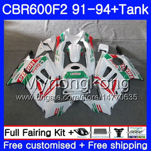 Corpo + serbatoio per HONDA CBR 600F2 CBR600FS CBR600F2 91 92 93 94 288HM.30 CBR 600 F2 FS CBR600 F2 1991 1992 1993 1994 Kit carena verde Castrol