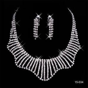 Özel 150-34 Setleri Küpe Kristal Düğün Gelin Yuvarlak Küpe ve kolye Moda Gelin Akşam Parti Takı