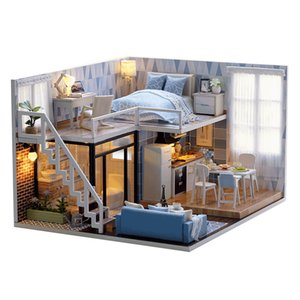 DIY Wooden House Toy Wooden Miniatura Doll Houses Assemble Miniature Dollhouse toys With Furniture LED Lights Birthday Gift