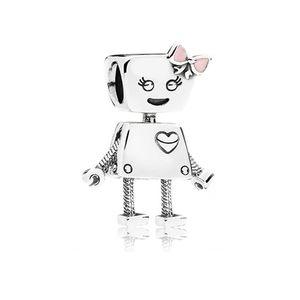 벨라 로봇 매력 핑크 골드 에나멜 구슬 판도라 팔찌 보석 액세서리