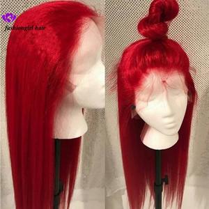 Nuovo # 613 Blu / Rosso / Rosa / Viola / Giallo Colorato brasiliano Parrucca anteriore in pizzo dritto Parrucca in pizzo sintetico frontale con pizzo a pizzico