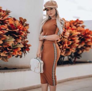 Vestido de las mujeres del verano vestido de dos piezas de diseñador del color del contraste cubierta ceñida Trajes cadera Sexy Donna 2pcs