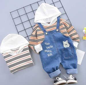 Spring and autumn new children's suit 0-4 years old baby color striped Hoodie long sleeve back belt jeans pants two piece children's suit 80