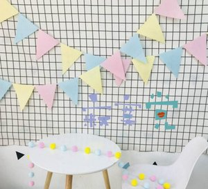 INS Joyeux Anniversaire Décoration Textile triangle drapeau décoration couleur drapeau fête d'anniversaire feutre croix drapeau enfant Bannières Streamers Confetti