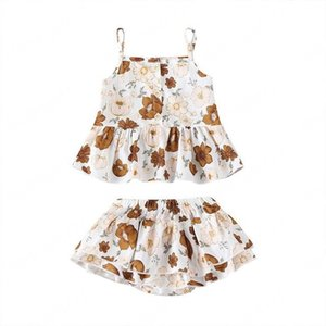 Baby Gilrs Flower Braces Tops+Pants Outfits Summer Kids Boutique Clothing Infant Toddlers Sleeveless Ruffle 2 PC Set