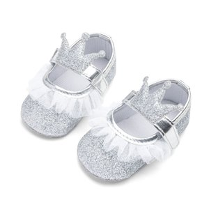 New Baby Girl Shoes Lace PU Leather Princess Baby Crown Shoes First Walkers Newborn Moccasins For Girls Glitter Crib