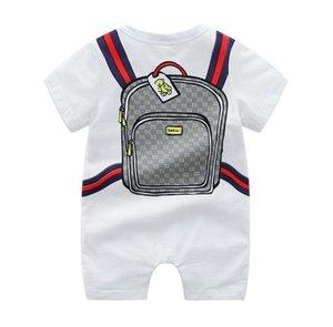 INS Bebek Romper Bebek Giyim Pamuk Uzun Kısa Kollu Karikatür Schoolbag Jumpsuit Bebekler İlkbahar Yaz E22005 yazdır Tırmanma Erkekler Kızlar