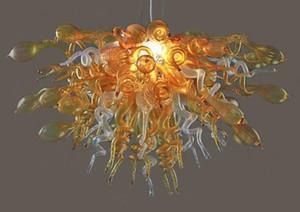 Высочайшее качество Gold Glass Small Люстра Light Художественные украшения Стиль 100% Маунт Сгорел боросиликатного стекла Современная люстра Свет