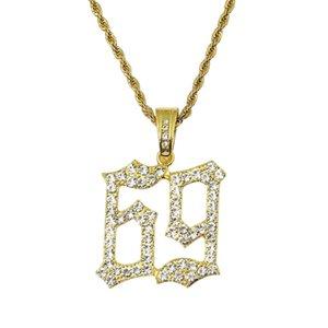 Hip hop número 69 diamantes pingente colares para homens liga de prata de ouro strass luxo 6ix9ine colar cubano moda jóias
