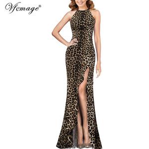 Vfemage femmes imprimé léopard Halter cou asymétrique Volants haute Slit formelle soirée Prom Party Bodycon sirène Maxi Dress 262