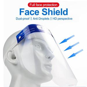 Las máscaras de la cara llena protectora transparente contra la gotita Covering máscara de polvo a prueba de protección de la seguridad de plástico Escudo Stop The Flying Sombrero