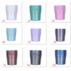 9 renkler Stianless Çelik Bardak Gökkuşağı Bardak Kapaklı Su Şişesi Stemless Kavisli Fincan Şarap Gözlük Su Kahve Süt Kupa 10 oz HH9-2272