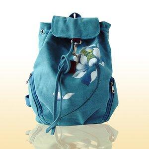 클래식 배낭 캔버스 손으로 그린 중국 소수 스타일의 여성의 어깨에 손으로 그린 가방 핸드백
