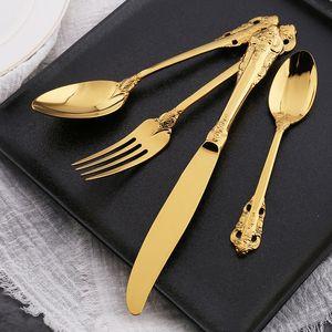 High Grade Retro Flatware Sets Silver Gold Stainless Steel Cutlery Set Knife Fork Spoon Scoop 4pcs Dinnerware Set Tableware Sets DBC BH3088