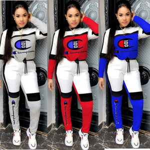 Champions women brand 2 piece set panelled running t-shirt pants sweatsuit leggings outfits hoodies jogging suit fall winter clothing