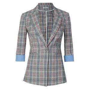 2020 nuevo verano primavera mujeres medias mangas casual pequeño Blazer señoras más tamaño outwears solo botón Plaid blazer chaqueta abrigo