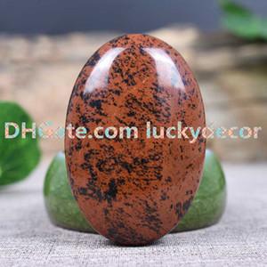 10pcs 60 * 40mm acajou obsidienne plat inquiétant poche apaisante pierre - spécimen de pierres précieuses œil de tigre froissé - pierres de protection de massage pierre de palmier