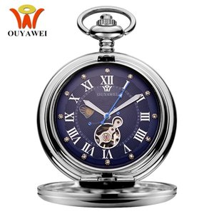 ocket & Fob Watches New OYW Hand Winding Mechanical Steampunk Men Pocket Watch Blue Skeleton Dial Steel necklace pendant Fashion Chain Fo...