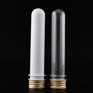 45ml PET tube with aluminum cap white clear plastic cosmetic tube bottle for mask bath salt or data cable case in retail sales