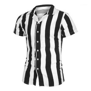 Shirts Freizeit-Revers-Ausschnitt Kurzarm-Hemden arbeiten Normallack-dünne Hemden der Männer Designer Striped Panelled