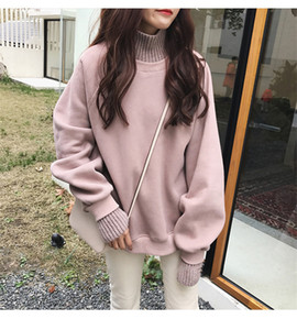 Turtleneck Hoodies 2019 Moda Hoodies Mulheres Outono Inverno Coreano estilo simples Casual Oversize Womens vestuário Chic Streetwear