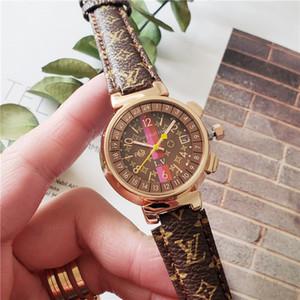 2020 새로운 패션 캐주얼 드레스 여성이 명품 디자이너 갈색 검은 가죽 쿼츠 시계 여성 시계 여자 시계 MONTRE 팜므 reloj