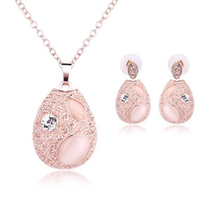 2019 New Romantic Opal Pendant Necklace Stud Earrings Water Drop Crystal Opal Jewelry Set Bridal Wedding Jewelry Accessories