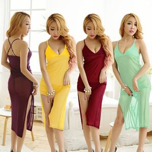 Womens Sexy Mesh Split Pyjamas Woman Spaghetti Strap Backless Cross Underwears Women See Though One Size Clothes