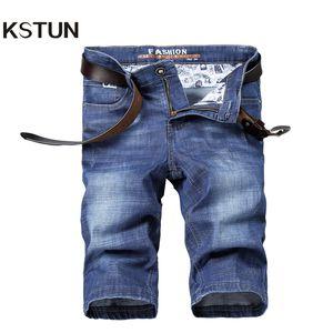 KSTUN 2019 Summer Denim Shorts Jeans Hommes Bleu Clair Ultrathin Stretch Coupe Regular Fit Respirant Lavé Hommes Court Jeans De Hombre