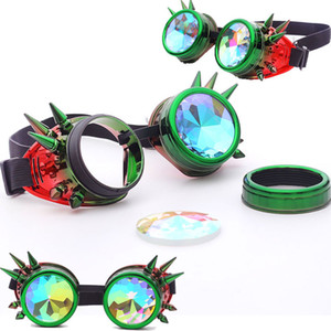 FLORATA Kaleidoscope Colorful Glasses Rave Festival Party EDM Sunglasses Diffracted Lens Steampunk Goggles Y200619