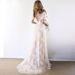 보헤미안 웨딩 드레스 2020 V 목 캡 슬리브 레이스 해변 웨딩 드레스 저렴한 등이없는 맞춤 제작 - 라인 신부 드레스