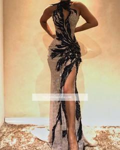 2019 nouvelle robe de soirée de bal de bal sexy fente noire fente longue de la robe de fête de fête de fête de la mer Mermiaid pageant robes sur mesure