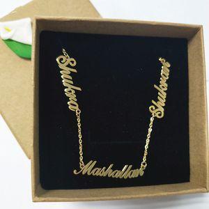 Персонализированные 3 Nameplate ожерелье Пользовательские Имя Подвеска Женщины Чокеры ожерелья Письмо Jewelry Для семьи Дети ключицы цепи BFF SH190930