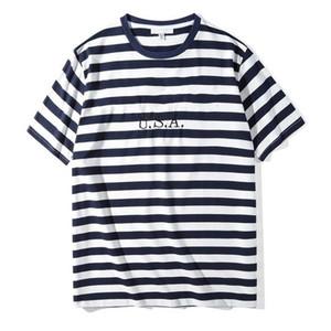 Jeans USA Mens tshirts Striped Tshirts Summer Fashion Designer Mens Tees Short Sleep Loose Male Tops Clothes