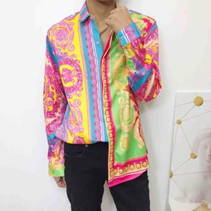 Nouveau mode imprimé floral chemise de coton chemise à manches courtes robe des hommes Slim hommes occasionnels Méduse rétro T-shirt