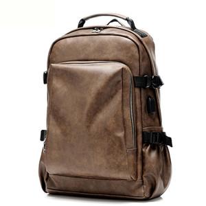 Laptop100 Vintage% Mochilas de couro genuíno para a escola Bolsas Men viagens de lazer Mochilas Retro Casual Bag Mochilas escolares Adolescente Estudantes