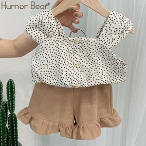Humor Bear Korean Summer Girl Clothes Suit Set New Dot Printed Sling Vest Tops+Shorts 2pcs Baby Kids Children Clothing Outfits T200526