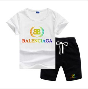 BLSG Buğday başak Logo Tasarımcısı Lüks Çocuk Bebek Boys And Girls Baby Bebek Boy Tasarımcı Giyim 2adet / set Pamuk Yaz Kısa Setleri
